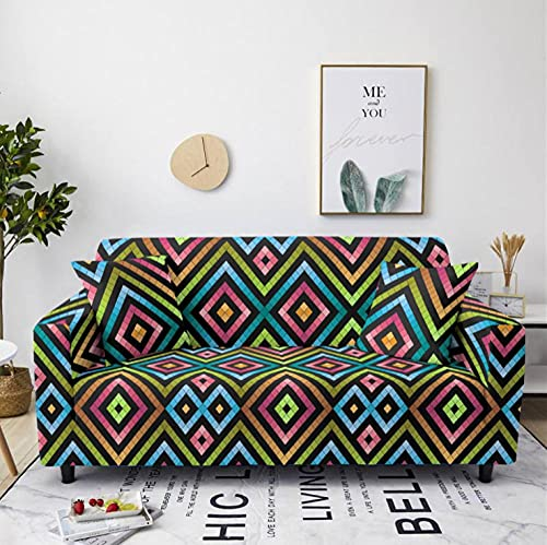Stretch Sofa Cover Geometric Color 1 Seater Printing All-Inclusive Couch Cover Elastic Polyester Spandex Sofa Covers Universal Urniture Protective Decorative Slipcovers