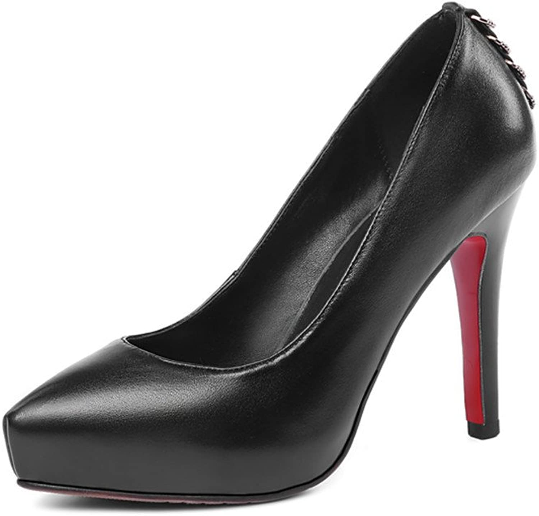 Nine Seven Genuine Leather Women's Pointed Toe High Stiletto Platform Handmade Dress Party Pump shoes