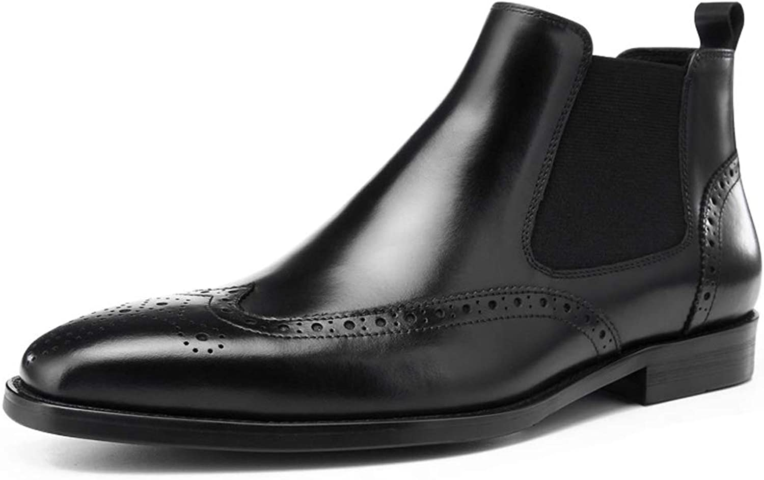 StickSeek Handcrafted Men's Chelsea shoes Formal Dress Wingtip Brogue Ankle Boot for Man