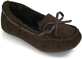 Blueberry Kids Moccasin Faux Soft Suede with Fur Lining Slippers Loafer Shoes