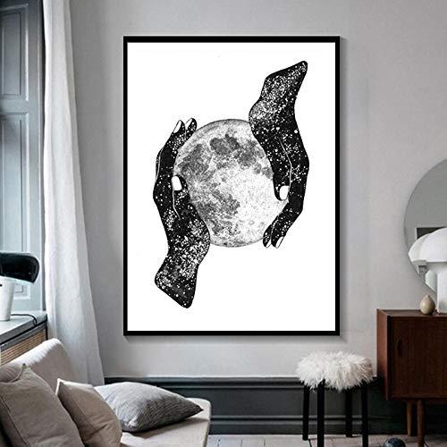 Wenqike Simple Pintura Abstracta Arte de la Pared Magia de la Luna Manos Brillantes Impresiones y Carteles en Lienzo Imagen Moderna decoración del hogar sin Marco 30x45cm