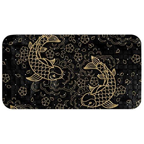Anmarco Rutschfeste Badewannenmatte mit goldenen Koi-Karpfen, Fisch-Aufdruck, PVC-Duschmatten mit starkem Saugnapf, für Badezimmer, 37,3 x 68,3 cm