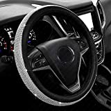 New Diamond Leather Steering Wheel Cover with Bling Bling Crystal Rhinestones, Universal Fit 15 Inch...