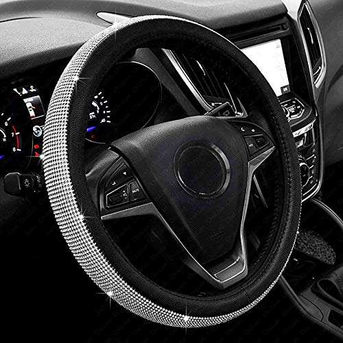 New Diamond Leather Steering Wheel Cover with Bling Bling Crystal...