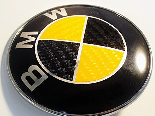 BLACK and YELLOW Carbon Fiber Sticker Overlay Vinyl for All BMW Emblems Caps Logos Roundels