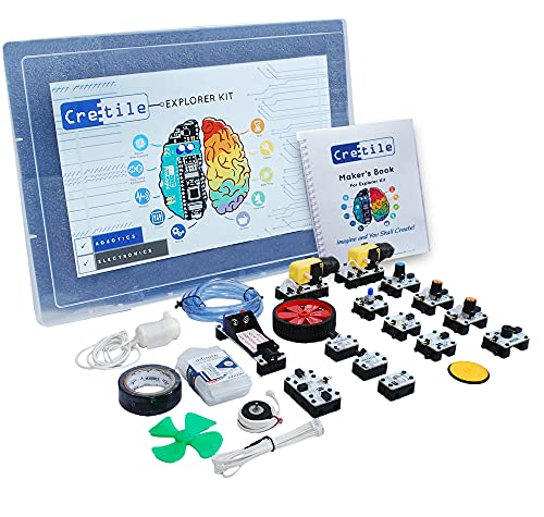 Cretile Explorer Kit - DIY Robotics Electronic STEM Projects - 8 to 16 Years Kids: Unlimited Project. Rechargeable Battery Included
