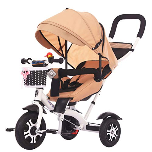 Triciclo para Niños 4 En 1, Triciclo para Bebé con Asiento Giratorio Y Respaldo Reclinable para 1 A 6 Años, Toldo para El Sol De Gran Tamaño, Adecuado para Compras Y Viajes,Amarillo