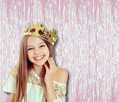Metallic White Rainbow Iridescent Foil Fringe Curtains 3 Ft x 8 Ft Pack of 2 for Bachelorette Swan Princess Unicorn Photo Booth Backdrop 1st Birthday Party Decorations