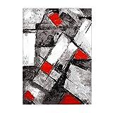 MyShop24 Alfombra de pelo plano, vintage, abstracto, patchwork, diseño moderno en gris, rojo, azul, rosa, para salón, color: rojo, moda: 160 x 225 cm