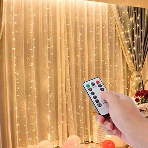 Curtain Light with 8 Modes Control DecorationLED Window Curtain String Light USB Copper Wire Remote Control for Window Home Patio Garden Christmas Indoor Outdoor Decoration