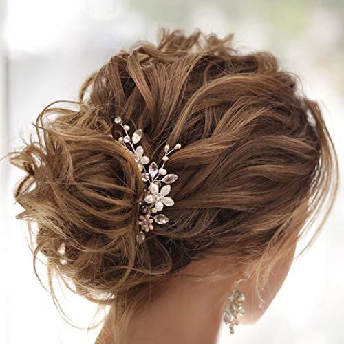 Fairvir Brautschmuck Hochzeit Haarnadeln Silber glitzernde Strass Blume Haarnadel Perle Braut Haarschmuck für Frauen und Mädchen (2 Stück)
