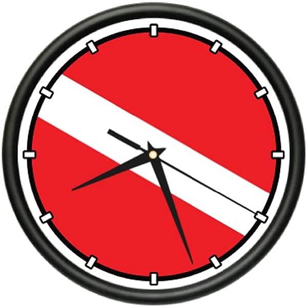 SignMission Scuba Flag Wall Clock Diver Dive Fins Mask Tusa Beagle