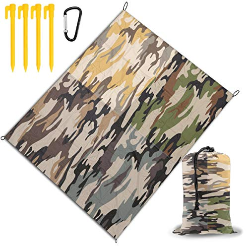 Review Outdoor Picnic Blanket 67x57inch Camouflage Pattern Foldable Waterproof Extra Large Picnic Ma...