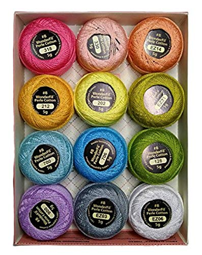 Wonderfil Eleganza #8 Perle Cotton Embroidery Thread Sampler Collection, 'Pastels'