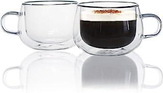 Tasses à Café en Verre, Chase Chic 5oz/150ml Tasse Expresso en Verre Double Paroi Ensemble de 2, Cadeau Parfait pour Toute...