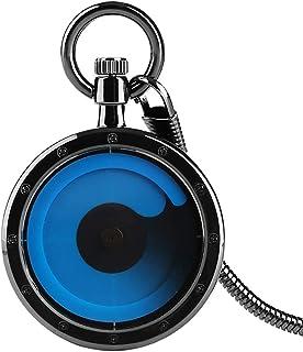 Creux Bleu Violet Platine Conception Creative Minimalisme Quartz Montre De Poche avec Chaîne Élégant Motif Montres de Poche