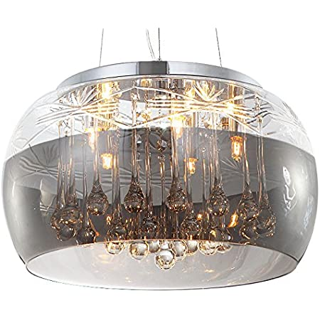 Cristal LED plafonnier suspension lampe lustre pendentif éclairage lumière abat-jour verre salle à manger désign moderne Ø 40cm 5xG9 douille