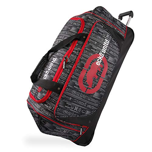 "Ecko Unltd. 32"" Steam Collection Rolling Duffel, Red, One Size"