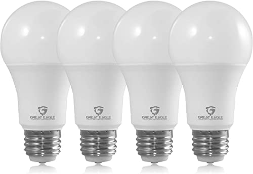 Great Eagle 40/60/100W Equivalent 3-Way A19 LED Light Bulb 2700K Warm White Color (4-Pack)