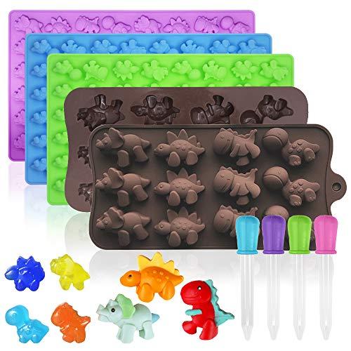 FineGood 5 Stück Silikon Mini Dinosaurier Gummiform, Dino Gummi Schokoladenformen mit Tropfer Silikon Süßigkeiten Formen