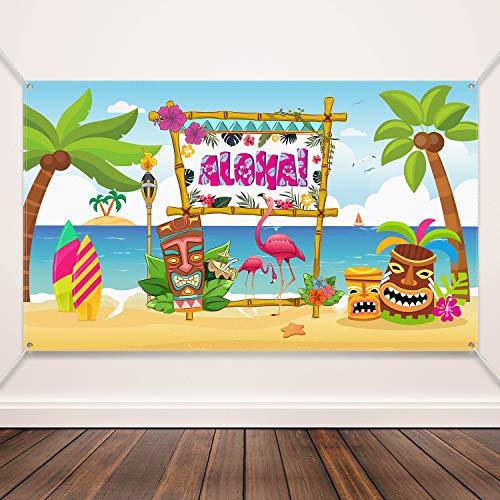 Decoraciones de Fiestas Hawaianas de Aloha, Póster con Letrero Brillante de Tela Aloha Banner para Suministros de Fiesta de Luau, Aloha Party Banner Aloha Luau Party Photo Booth Telón de Fondo