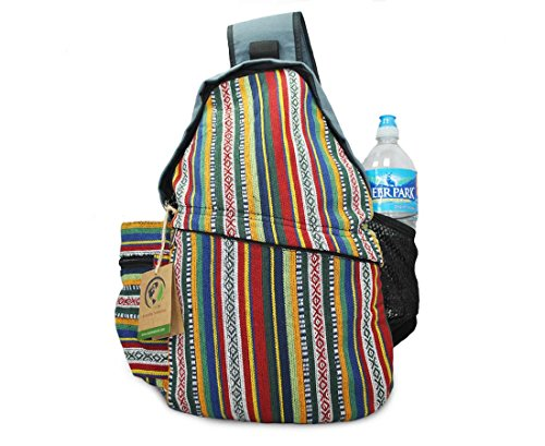 Mato Chest Shoulder Sling Bag - Lightweight Bohemian Backpack With Unique Woven Aztec Tribal Patterns [Multicolor/Blue]