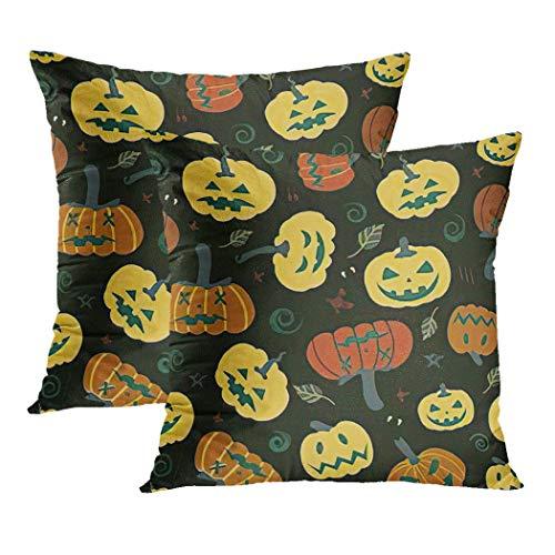 Y·JIANG - Funda de cojín de acción de gracias, diseño de calabaza, hojas de otoño agrícola, Halloween para fiesta, suave terciopelo cuadrado, funda de cojín para sofá o silla, 20 x 50 cm, juego de 2