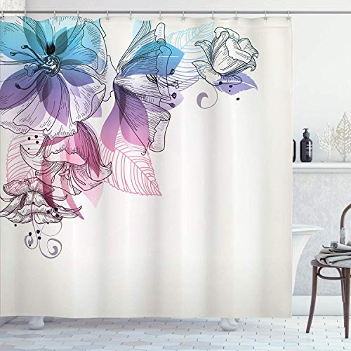 XCBN Turquoise shower curtain flower bud leaf in the upper left corner Seasonal waterproof fabric bathroom shower curtain A4 180x180cm