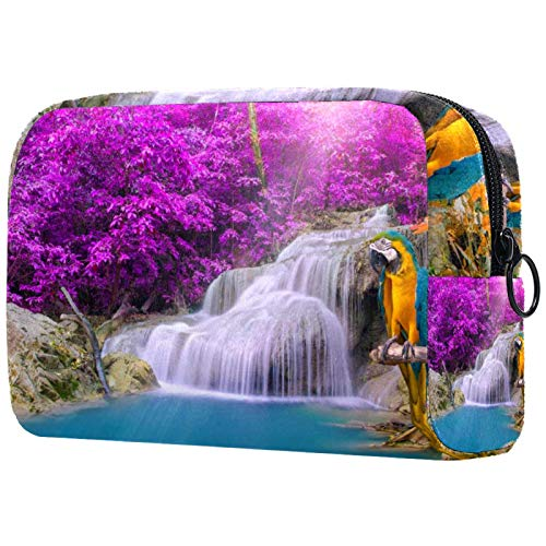 Bolsas de Maquillaje Estuche multifunción para Organizador de Bolsas de cosméticos de Viaje portátil Parrot Cascada Tropical con Neceser con Cremallera para Mujer