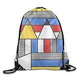 huatongxin Drawstring Backpack Bolsos de Hombro Tipo Mochila Colorful Tangram Study Drawstring Backpack Bolsos de Hombro Tipo Mochila Training Gym Sack For Man and Women 16.9' 14'