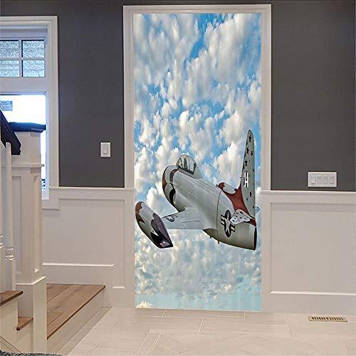 No brand DIY deurstickers vliegtuig 3D muursticker zelfklevend waterdicht behang Decals Home Decor Deur Muurstickers 77X200Cm