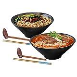 2 juegos (6 piezas) de tazones de porcelana, tazón de sopa de ramen japonés, tazones de ensalada de cocina casera, con palillos y una cuchara tazones de fideos grandes, para udon, cereales y ensalada