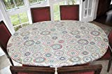 Elastic Edged Flannel Backed Vinyl Fitted Table Cover - Multi-Color Geometric Pattern - Oblong/Oval Fits Tables Up to 48