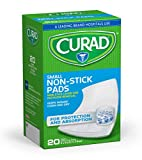 Curad Sterile Small Non-Stick Pads, 2 x 3 inches, Easy to Apply, Ouchless Removal, 20 Count