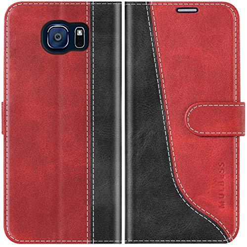 Mulbess Funda para Samsung S6, Funda con Tapa Samsung Galaxy S6, Funda Samsung Galaxy S6 Libro, Funda Cartera para Samsung Galaxy S6 Carcasa, Vino Rojo