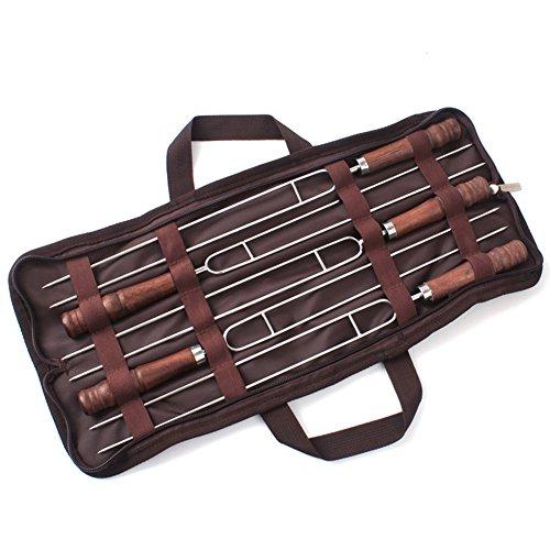 lzndeal 5 Pcs/Set BBQ Fourchettes en Acier Inoxydable Poignée en Bois Viande Brochette Outil pour Voyage Camping Barbecue Pique-Nique