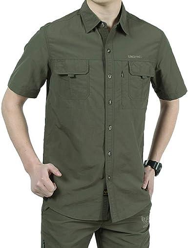 Camisas Hombre Manga Corta Secado rápido Verano Outdoor Trabajo Camisa Casual de Vestir
