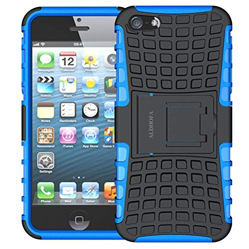 ALDHOFA - Carcasa híbrida de TPU para iPhone 5, 5S, color azul
