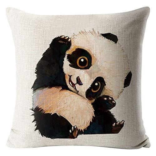 XdiseD9Xsmao 45 x 45 vierkante kussenhoes, cartoon panda print, sierkussen, val, start, slaapbank, decoratie