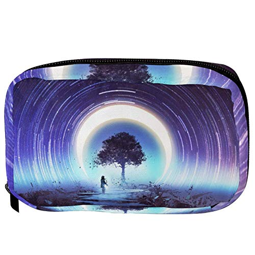 TIZORAX Cosmetic Bags Magic Tree And Star Trails Handy Toiletry Travel Bag Organizer Makeup Pouch for Women Girls