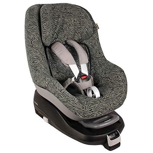 Fundas Para Sillas de Algodón Oeko-Tex para Silla de Coche Maxi Cosi Pearl y 2 Way Pearl Funda Silla Garantiza la Comodidad de la Piel del Bebé y Ayuda a no Sudar Verde cebra