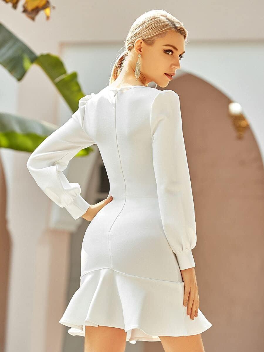 HAOYF Women's Plus Casual Dresses Square Long Beach Mall Neck Ruffle Bandage Hem depot