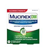 Cough Suppressant and Expectorant, Mucinex DM Maximum Strength 12 Hour Tablets, 7ct, 1200 mg Guaifenesin, Relieves Chest Congestion, Quiets Wet and Dry Cough, #1 Doctor Recommended OTC expectorant