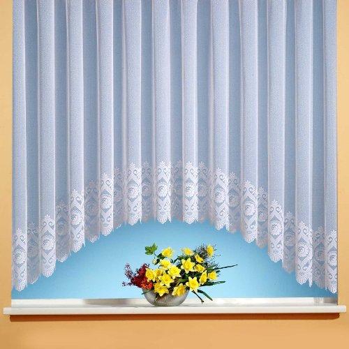 Iovivo Blumenfensterstore Miriam mit C Bogen + Blumenbordüre, weiß Einzel Fertigstore, weiß, 145X300