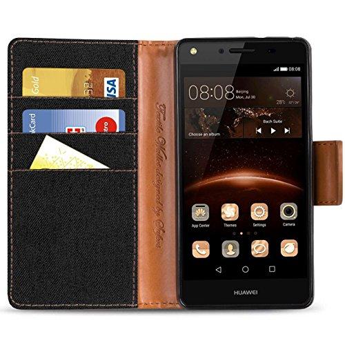 Verco Y5 II Hülle, Schutzhülle für Huawei Y6 2 Compact Tasche Denim Textil Book Case Flip Case - Klapphülle Schwarz - 4