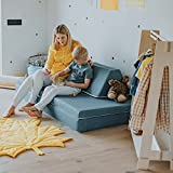 Colchón de actividades – Sofá de espuma de felpa con 2 almohadas – Sofá para jugar y dormir – Cojines de asiento con fundas extraíbles y robustas – Muebles para niños, sofá cama (azul turquesa)