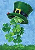 Toland Home Garden 101162 Shamrock Shower Decorative St Patrick's Day Clover Leprechaun Top Hat, House Flag 28 x 40 Inch