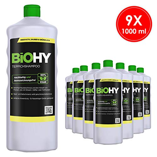 BIOHY tapijtshampoo concentraat, 9-delige set (9 x 1 l) shampoo voor tapijt en waszuigers/tapijtreiniger voor het verwijderen, zelfs tegen hardnekkige vlekken en geuren