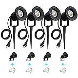 SanGlory 4 Stück Gartenleuchte mit Erdspieß,7W GU10 LED Gartenstrahler mit Stecker,IP65 Wasserdicht Gartenbeleuchtung mit 2m Kabel,Warmweiß Außen-Strahler Gartenlampe Außenlampe für Baum,Teich,Garten