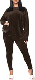 Women's Sweatsuit Set 2 Piece Tracksuit - Long Sleeve Solid Velour Pullover Sport Suits Casual Suits Outfits